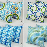 Choose Your Own Throw Pillow Covers Blue Green and White - 18 x 18 inches Decorative Pillow Cushion Cover Accent Pillow