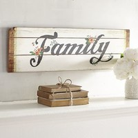 Family Floral Wood Planks Wall Decor