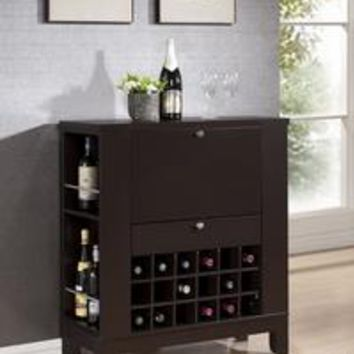 Baxton Studio Modesto Brown Modern Dry Bar and Wine Cabinet Set of