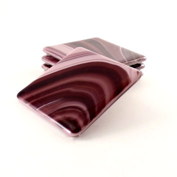Fused Glass Coasters - Drink Coaster Set - Purple Swirls - Home Accent - Handmade
