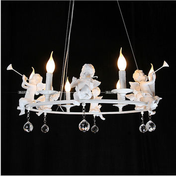 Modern Art Led Chandelier Led Lamps Living Room Resin Angel Chandeliers Crystal Chandelier E14 Led Lustre Light Chandelier Z 20