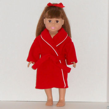 American Girl Doll Clothes Red Fleece Robe fits 18 inch dolls