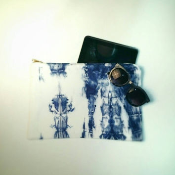 Large Indigo Shibori Slouch Clutch Purse handbag tablet ipad case