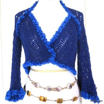 Blue Cotton Crochet Lace Sweater Shrug