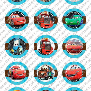 """Disneys Cars 1"""" Round Circles Bottle Cap Images Cupcake Toppers Instant Download Digital Emailed 4x6"""