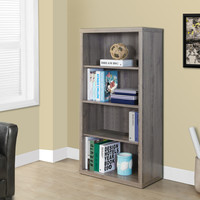 "Dark Taupe Reclaimed-Look 48""H Bookcase/Adjustable Shelves"