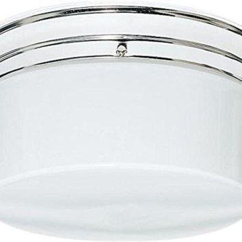 "Nuvo 77-344 - 10"" Close-To-Ceiling Flush Mount Light with Large White Glass Drum"