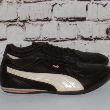 90s puma Sneakers US 8 Leather Brown Pink White Trainers Hipster FestIval Hip Hop Club