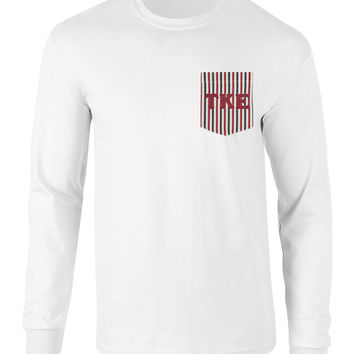Tau Kappa Epsilon American Flag Theme Long Sleeve Pocket Tee