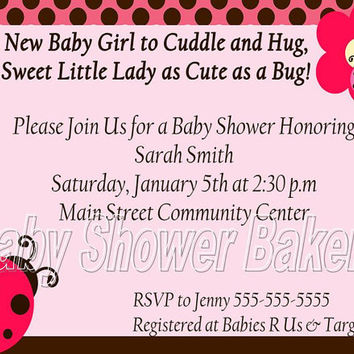 Ladybug Baby Shower Invitation, Baby Girl Shower Invitation, Baby Shower Invitation for Girl, Printable Ladybug Baby Shower Invitation