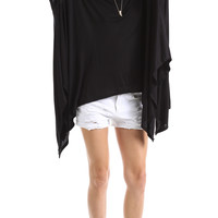 ASYMMETRICAL OVERSIZE TUNIC - BLACK