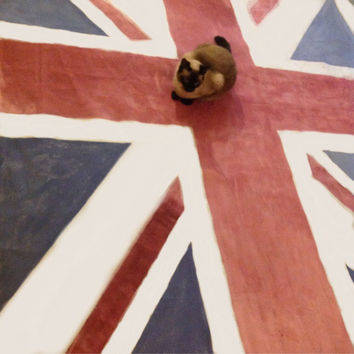 Area rug, Union Jack, floor rug, rugs, Drop Cloth,  rug, Vintage look area rug, hand painted chalk,, paint, wall hanging, canvas, rugs