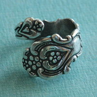 Floral Silver Spoon Ring Finding 2748 by charmparfait on Etsy
