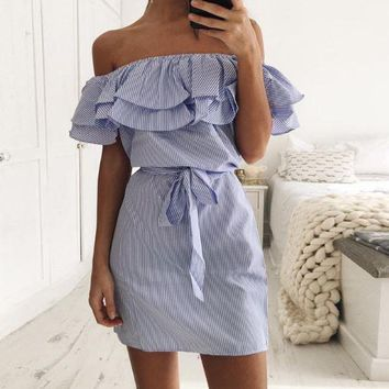 Off-Shoulder Flounced Striped Dress