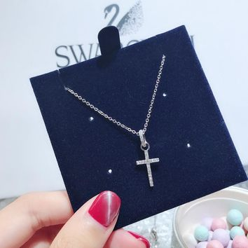 DCCK S058 Swarovski Crystal New Cross Necklace