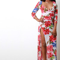 Semi-Sheer Roses Deep V High Slit Maxi Dress
