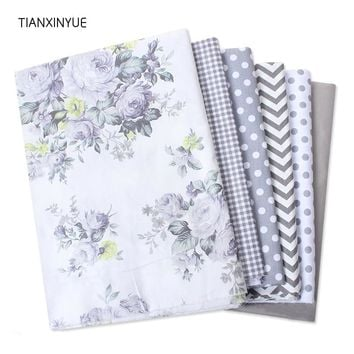 TIANXINYUE Gray flower fabric Printed cotton fabric for quilting patchwork tecido tela clothing bedding tissus