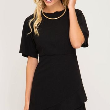 Kixters - Black Bell Sleeve Knit Dress