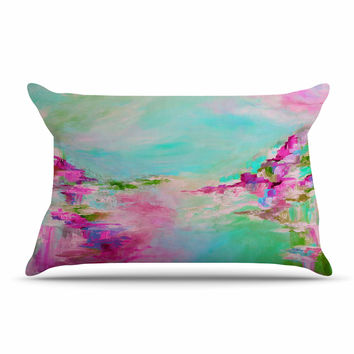 "Ebi Emporium ""Something About the Sea 2"" Teal Pink Pillow Case"