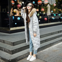 2016 fall and winter Heavy hooded Korean collar Women clothes long pattern winter parka goose down coats women leather