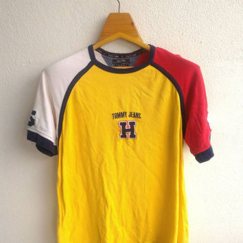 24c7221b333 Vintage Tommy Jeans Hilfiger  85 Hip Hop Swag Ralph Lauren Supreme  Colourful Colour Block Versace