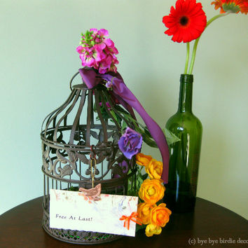 Decorative Birdcage /Brown Metal with Pink, Purple, Yellow Flowers / Inspirational Small Bird Cage for Decor