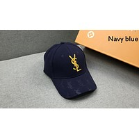 YSL tide brand men and women embroidered letters LOGO fashion wild baseball cap cap navy blue