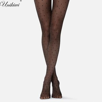 Women's Tights Classic Small Polka Dot Silk Stockings.Thin Lady Vintage Faux Tattoo Stockings Pantyhose Female Hosiery.2 Colors