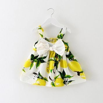 Newest Infant Baby Girl First Birthday Party Dresses Baptism Toddler Princess Lemon Printed Dress for Newborn Baby 0-2 Years