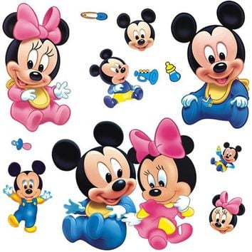 Cartoon Mickey Mouse Minnie Notebook pvc Wall Sticker Home Decoration Wall Decals For Kids Rooms Kindergarten Bedroom Wallpaper