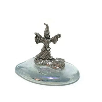 Fantasy Decor, Gothic Decor, Wizard Pewter Figurine on a Crystal Spoontique