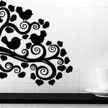 Wall Vinyl Sticker Decal Abstract Image Bird Branch Leaves Decor Unique Gift (n241)