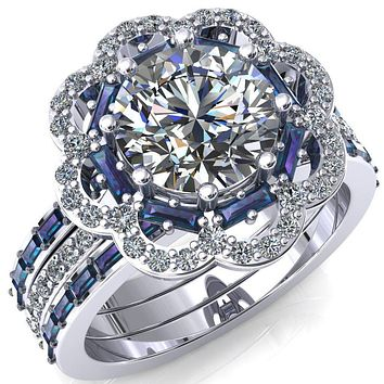 Camelia Round Moissanite Accent Diamond and Alexandrite Halo Ring