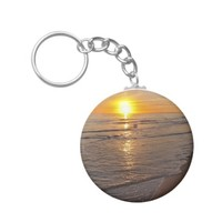KeyChain: Sunset by the Beach Basic Round Button Keychain