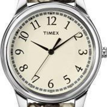Timex Womens Black and White Python Leather Strap Watch