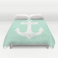 Love Hope Anchor Mint Green Duvet Cover by BeautifulHomes | Society6