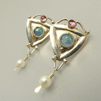 Sterling Silver 925 Opal Amethyst & Pearl Pierced Earrings