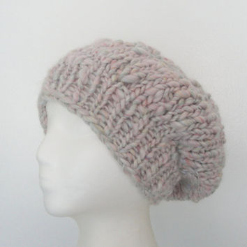 Chunky Slouch Hat, Slouchy Tam, Oversized Beanie, Beret Cloche, Snow Ski Hat, Women & Teen Girls, Pink Cream Multi, Merino Wool with Silk