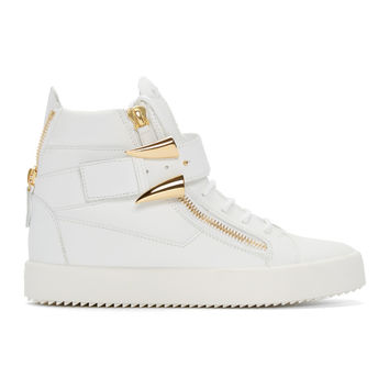 White & Gold Horn High-Top London Sneakers