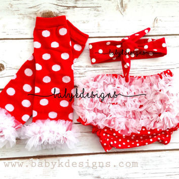 SAVE 15% Newborn Baby Cotton Bloomer Diaper Cover Chiffon Ruffle Leg Warmers and Turban Bow Headband Head Wrap Set Christmas Red polka Dots