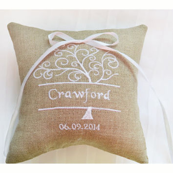 Personalised Linen Wedding ring pillow , ring pillow, ring bearer pillow with Custom embroidery, Ring Pillow , wedding pillow (R99)