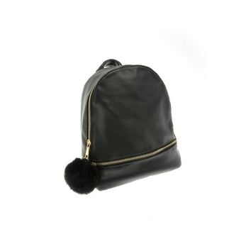 Faux Leather Mini Backpack with Faux Fur Puff in Black