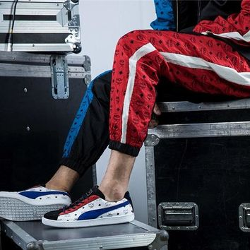 PUMA&MCM Fashion Men Women Contrast Print Wing Leopard Trouser Long Pants B-LFL-WX6H Blue/red