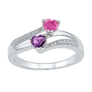 Sterling Silver Women's Heart Lab-Created Amethyst Pink Sapphire Bypass Ring 3/4 Cttw - FREE Shipping (US/CAN)