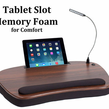 Sofia Sam Oversized Wood Top Memory Foam Lap Desk with Detachable USB Light and Tablet Slot (Black) Supports Laptops Up To 20 Inches Black Deluxe '