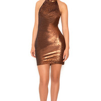 Clothing : Bodycon Dresses : 'Dacia' Bronze Backless Micro Sequin Mini Dress