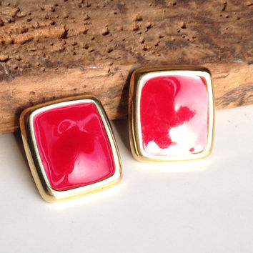Vintage Earrings, Red Earrings, Red Enamel Earrings, Rectangular Earrings, Enamel and Base Metal Earrings, Etsy, Etsy Vintage, Post Earrings