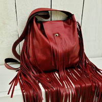 Deep Red Fringe Shoulder Bag / Fringe Leather Handbag / Leather Boho Bag / Leather Fringe Purse / Western Fringe Handbag / Leather Handbag