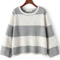 Grey White Half Sleeve Striped Cropped Sweater