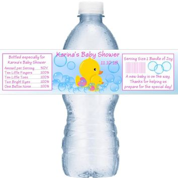 21 Duck Baby Shower Water Bottle Labels Pink